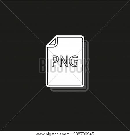 download PNG document icon - vector file format symbol. White flat pictogram on black - simple icon poster