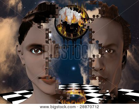 Two puzzle face people as one