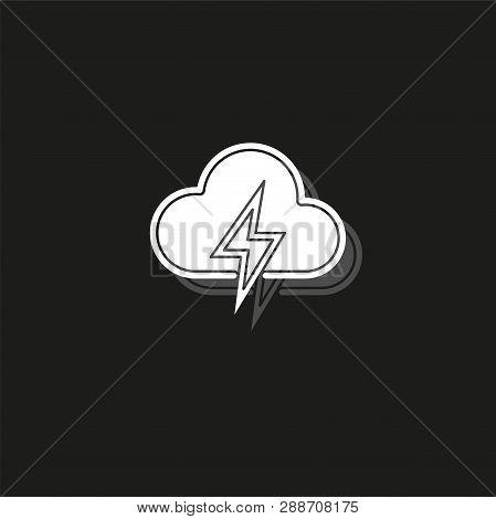 Weather Storm Illustration, Sun Rain Symbol - Weather Storm Icon. White Flat Pictogram On Black - Si
