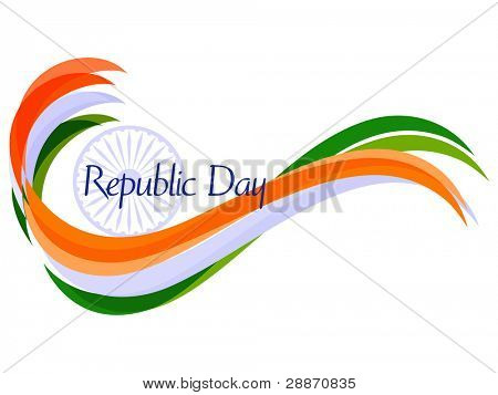 Vector illustration of waves in Indian trio color with ashok wheel on white isolated background for Republic Day.