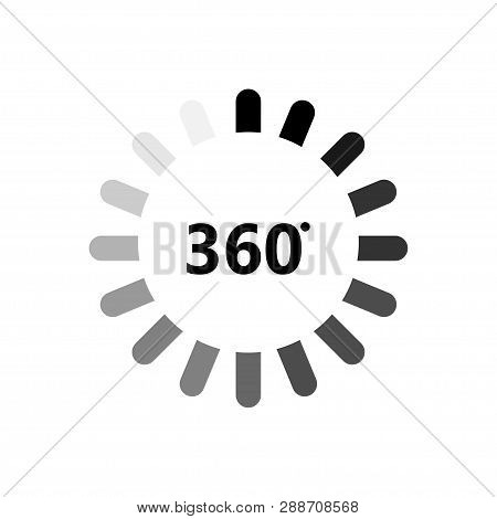 Angle 360 Degrees Icon. 360 Degrees View Sign On Blank Background