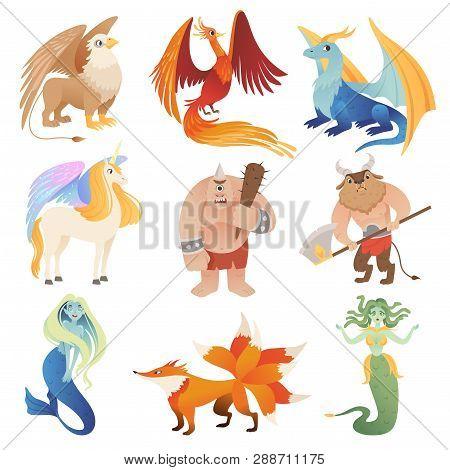 Fantastic Creatures. Phoenix Dragon Hybrid Animals Flying Lion Minotaur Centaur Vector Cartoon Pictu