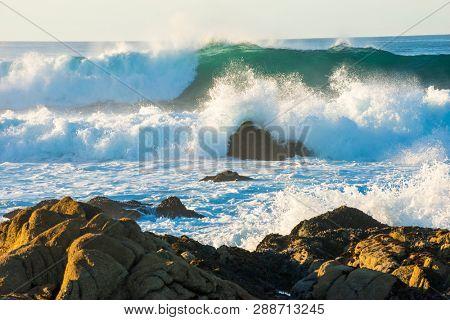 Ocean wave crashing scene background beautiful blue teal