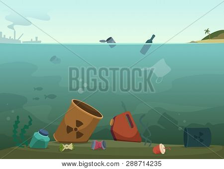 Water Waste. Nature Pollution Plastic Bottles In Ocean Debris Dirty Animals Trash Save Nature Vector