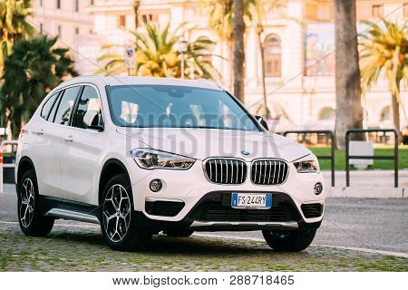 Rome, Italy - October 20, 2018: White Color Bmw X1 Car Of Second Generation F48 Parked At Street