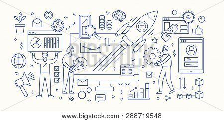 Modern Banner Template With Computer, Diagrams, Charts, Flying Spacecraft And Group Of People Workin