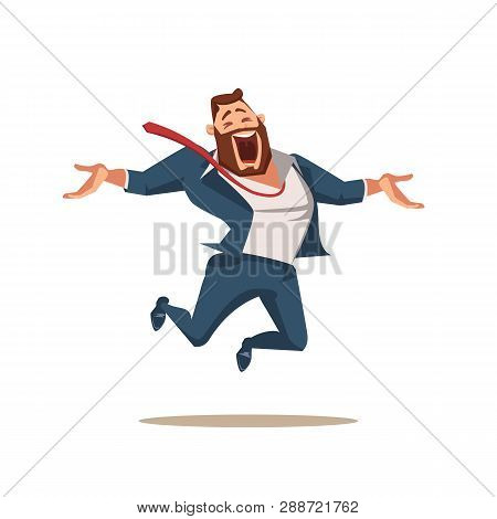 Laughing Office Worker Jumping Up High with Joy. Happy Businessman or Fun Boss Express Emotion. Funny Smiling Male Character Full of Enthusiasm Jump. Cartoon Flat Vector Illustration poster