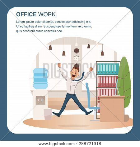Smiling Office Worker Jumping At Coworking Area. Happy Coworker Businessman Jump Up. Young Male Char