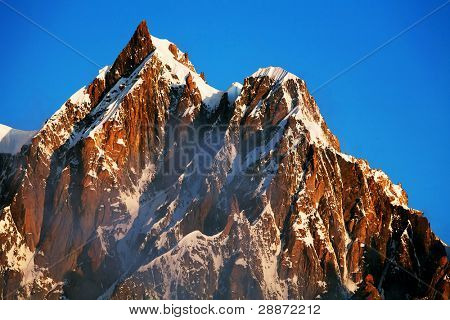 Mont Maudit (4465m) in sunrise light, Haute Savoie, France