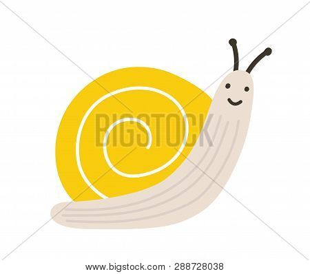 Adorable Little Smiling Snail. Funny Lovely Terrestrial Gastropod Or Mollusc Isolated On White Backg
