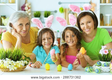 Portrait Of Big Happy Family Painting Traditional Easter Eggs
