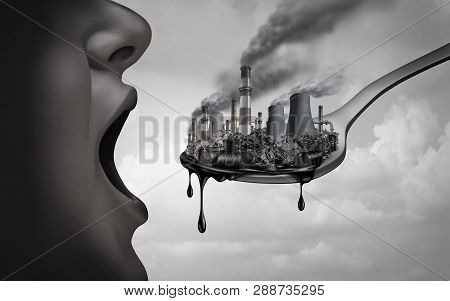 Concept Of Pollution And Toxic Pollutants Inside The Human Body And Eating Contaminated Food As An O