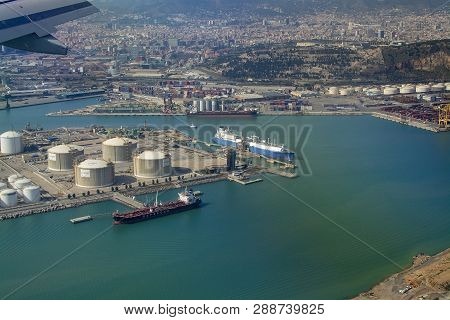Barcelona, Spain - March 9, 2019: Aerial View Of Petroleum Gas And Oil Depots Storage Area On March