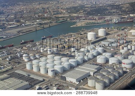 Aerial View Of Petroleum Gas And Oil Depots Storage Barcelona