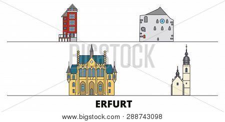 Germany, Erfurt Flat Landmarks Vector Illustration. Germany, Erfurt Line City With Famous Travel Sig