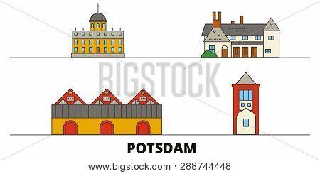 Germany, Potsdam flat landmarks vector illustration. Germany, Potsdam line city with famous travel sights, skyline, design. poster