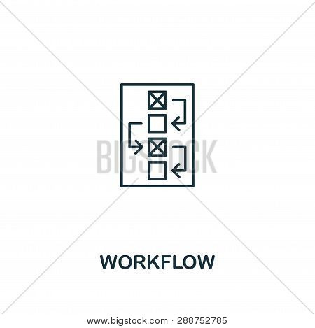 Workflow Icon. Thin Outline Style Design From Design Ui And Ux Icons Collection. Creative Workflow I