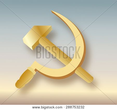Ussr Coat Of Arms. Communism Icon With Hammer And Sickle