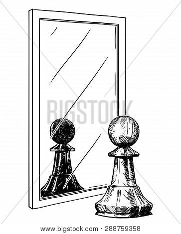 Cartoon Drawing And Conceptual Illustration Of White Chess Pawn Reflecting In Mirror As Black. Metap