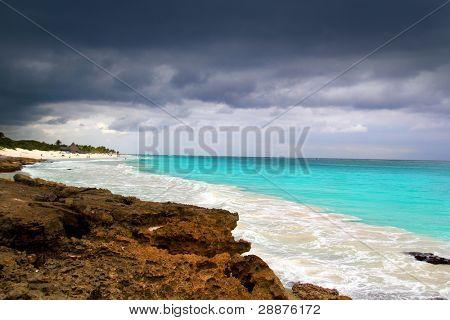 hurricane tropical storm beginning Caribbean sea dramatic sky Tulum