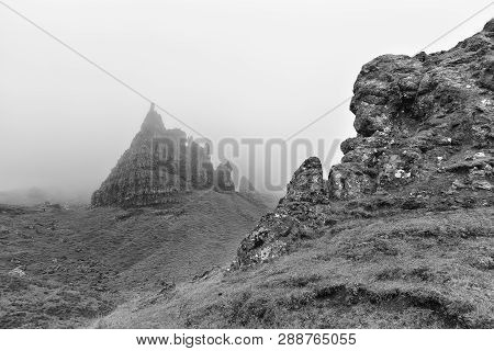 Rock Formations In Mist At The Old Man Of Storr On The Isle Of Skye Artistic Conversion
