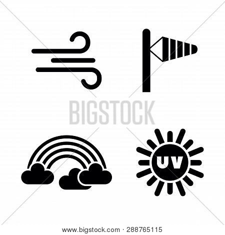 Weather Forecast, Meteorology. Simple Related Vector Icons Set For Video, Mobile Apps, Web Sites, Pr