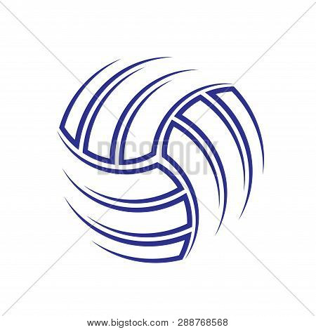 Abstract Outline Blue Volleyball Silhouette Isolated On White Wallpaper