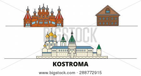 Russia, Kostroma Flat Landmarks Vector Illustration. Russia, Kostroma Line City With Famous Travel S