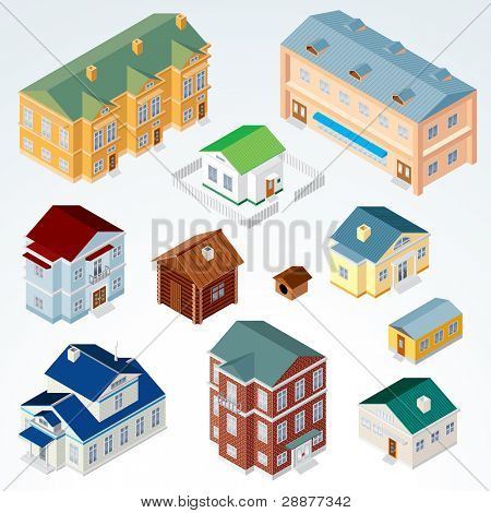Set of Isolated Isometric Buildings, illustration of Various Urban and Rural Houses and Dwellings, Detailed Vector Clip-Art with Easy Editable Colors poster