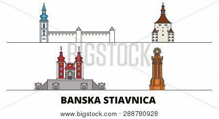 Slovakia, Banska Stiavnica Flat Landmarks Vector Illustration. Slovakia, Banska Stiavnica Line City