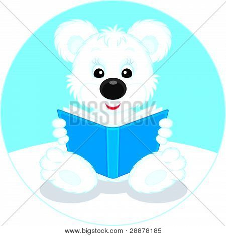 Polar bear cub reading a book