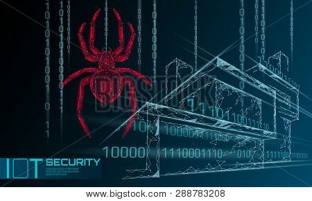 Smart House Iot Cybersecurity Spider Concept. Personal Data Safety Internet Of Things Cyber Attack.
