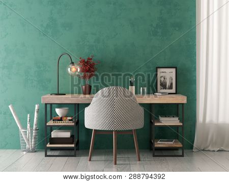 Interior of modern living room with table 3D rendering