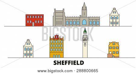 United Kingdom, Sheffield Flat Landmarks Vector Illustration. United Kingdom, Sheffield Line City Wi