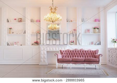Luxury Rich Living Room Interior Design With Elegant Classic Furniture And Wall Decorations. Large L