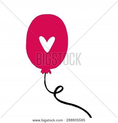 Single Balloon With Heart Illustration, Postcard Isolated Element