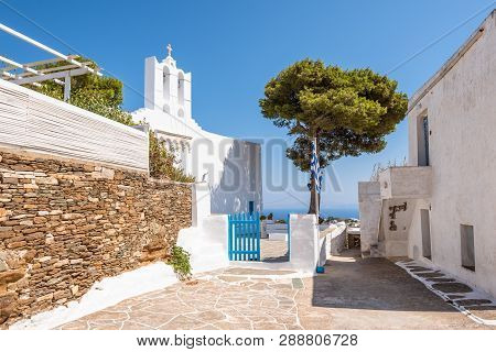 Square With Greek Church In Apollonia, The Capital Of Sifnos. Cyclades, Greece