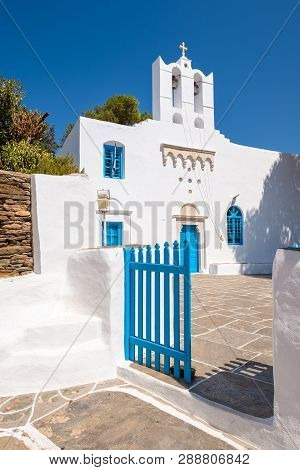 White Blue Greek Church In Apollonia, The Capital Of Sifnos. Cyclades, Greece