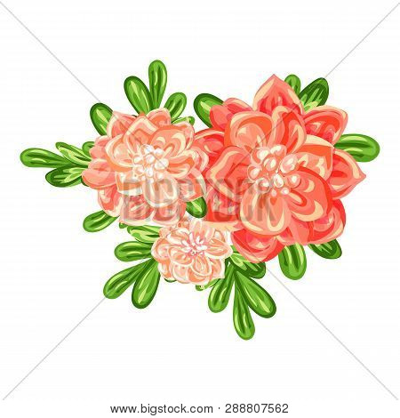 Camellia Bunch Icon. Cartoon Of Camellia Bunch Vector Icon For Web Design Isolated On White Backgrou