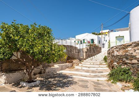 Sifnos, Greece - September 11, 2018: Alley With Stairs In Apollonia, The Capital Of Sifnos. Cyclades