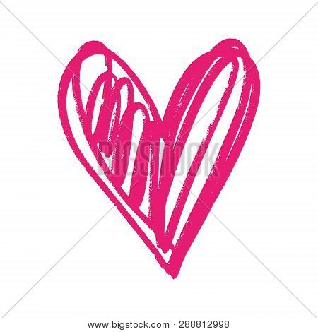 Heart Shape Sketch, Pink Ink Brush Painting