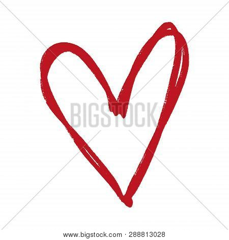 Heart Shape Frame, Red Ink Brush Painting