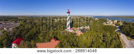 St. Augustine Lighthouse Aerial View Panorama. This Light Is A National Historic Landmark On Anastas