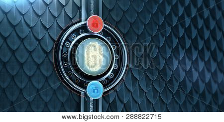 3d Image Of Metal Scales Background With Big Digital Fingerprint Authorisation Block And Two Glowing