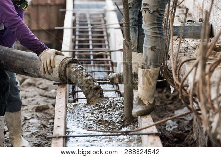 Concrete Casting Work By Pump Machine And Using Concrete Vibrator For Compacting Concrete Of Stiff C