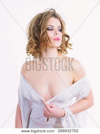 Woman Elegant Lady With Retro Hairstyle And Makeup Undressing White Dress With Seductive Decollete.