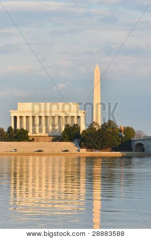 Washington DC - Abraham Lincoln Memorial, Monument and Arlington Bridge on Potomac River
