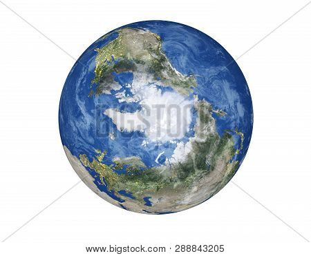 North Pole Of The Planet Earth Of Solar System Globe Isolated On White Background. Elements Of This