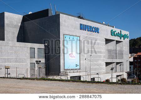 Santiago de Compostela, Spain; march, 02 2019: view of Hipercor and El Corte Ingles mall facade