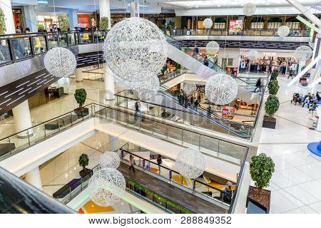 Moscow - March 9, 2017: Interior Of Luxury Mall. Panorama Of A Large Shop Or Store With Ball Decorat